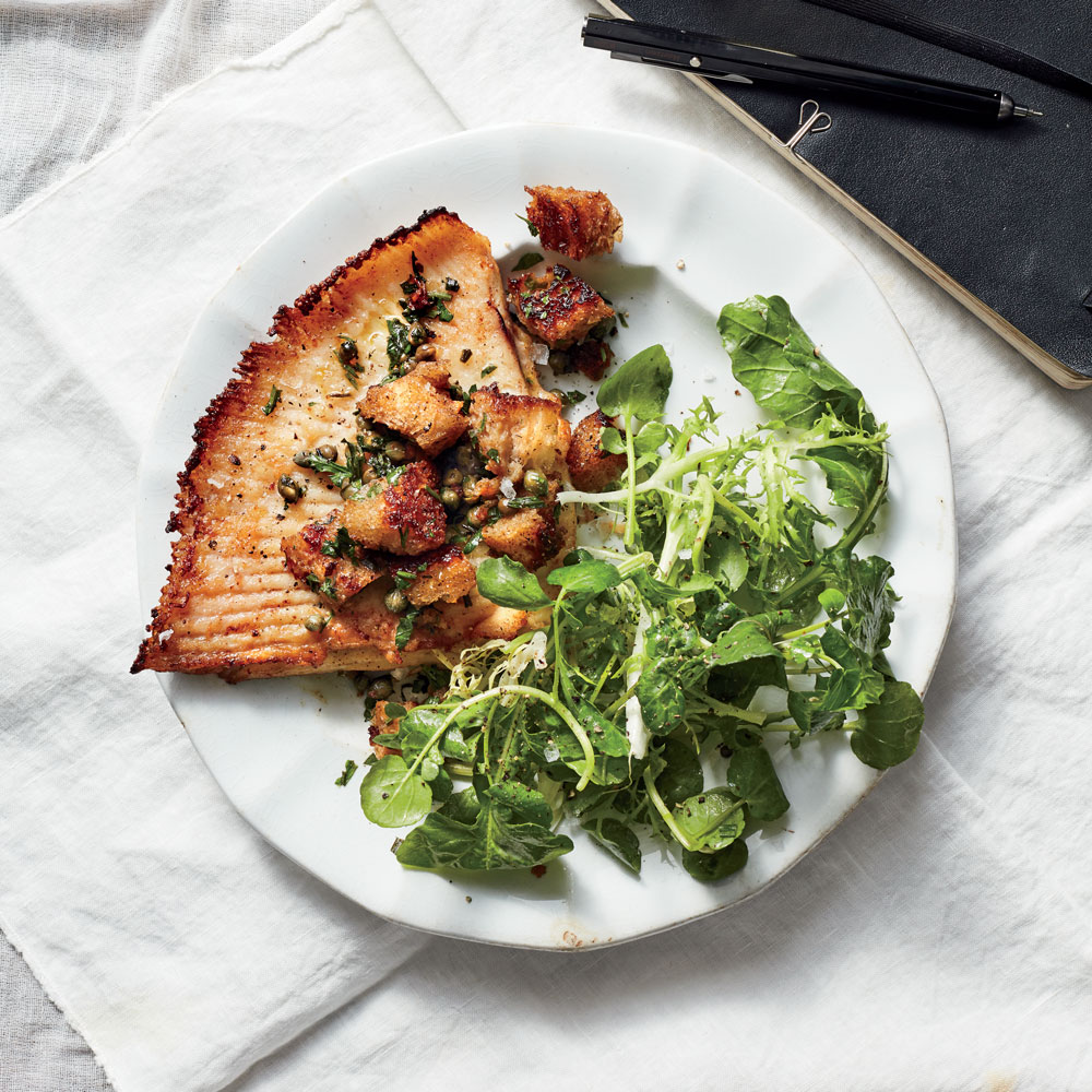 Skate with Capers and Bread