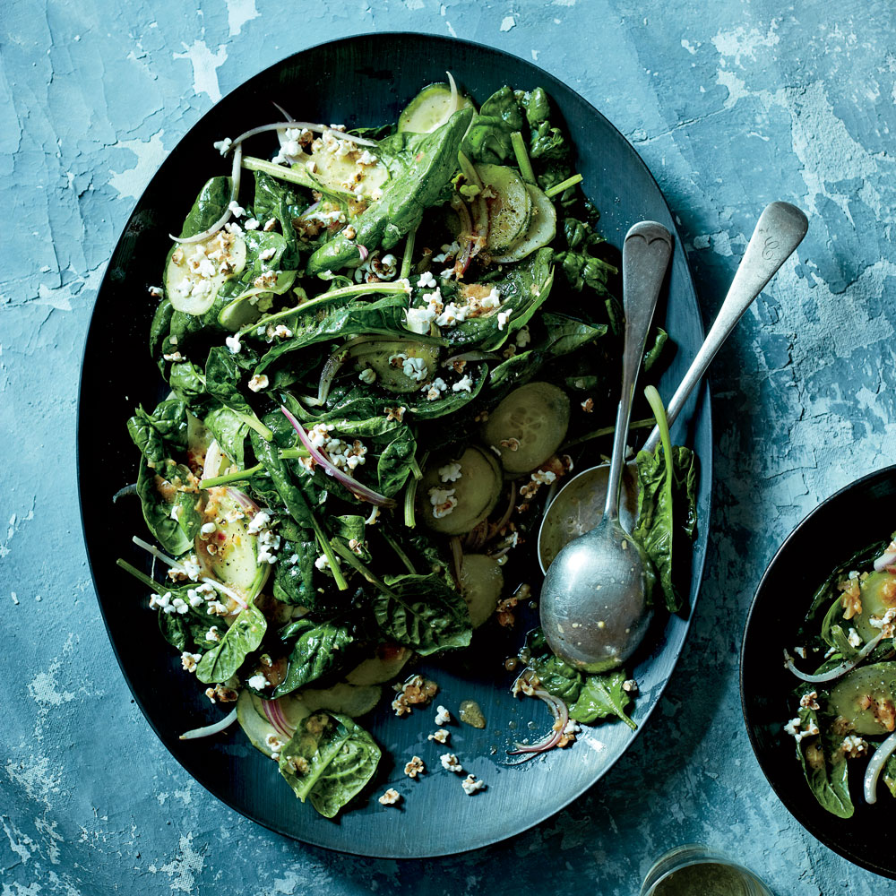 Spinach Salad with Ginger-Soy Dressing