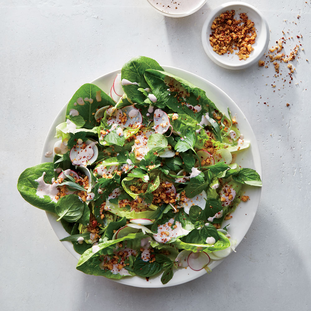 Little Gem Salad with Walnut Vinaigrette and Urfa Crumble