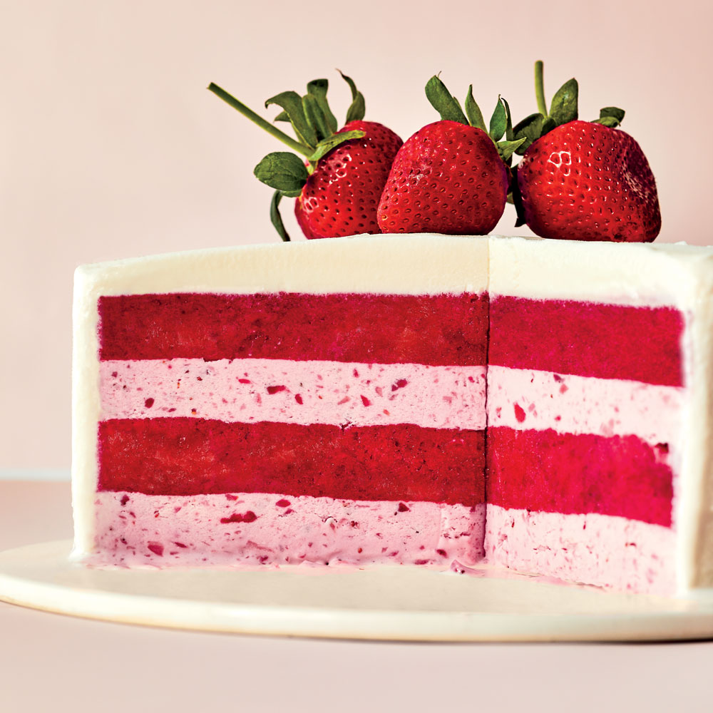 Strawberries-and-Cream Gelato Cake