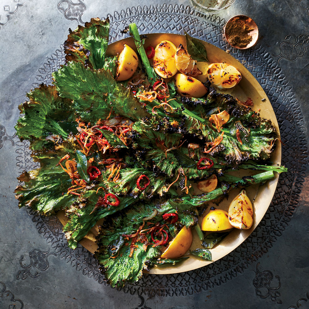 Grilled Greens with Popped Mustard Seeds and Ginger