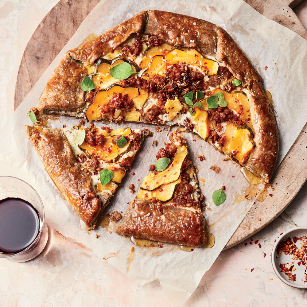 Delicata Squash and Sausage Crostata with Ricotta and Honey