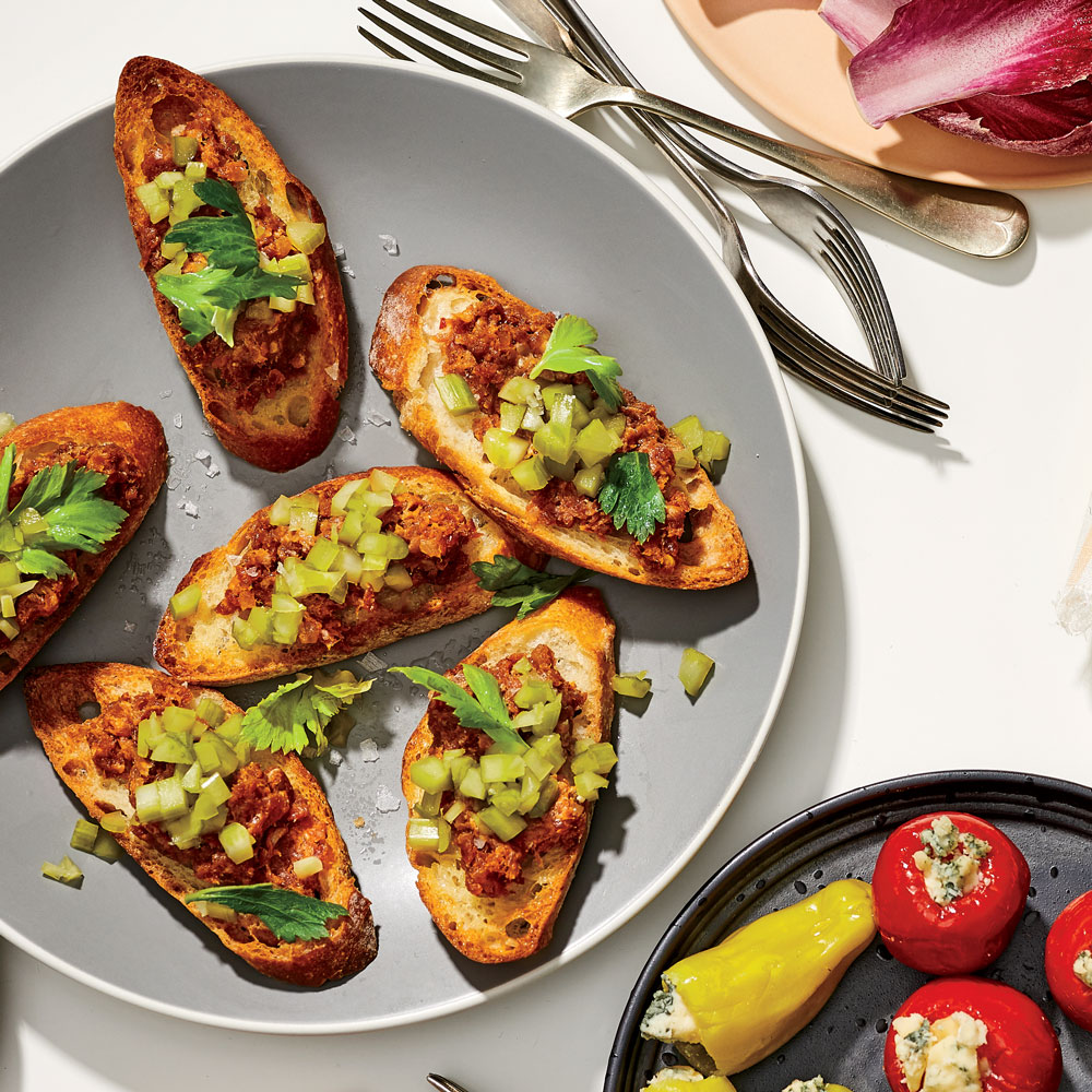 Nduja Toasts with Quick-Pickled Celery