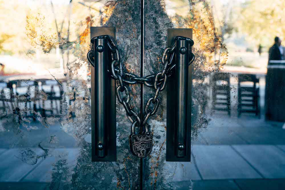 Chained and Locked Front Entry to The Prisoner Wine Company Tasting Lounge Prior to Official Opening in November 2018 - Credit Matt Morris for TPWC.jpg