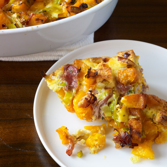 Butternut Squash Casserole with Leeks, Prosciutto and Thyme