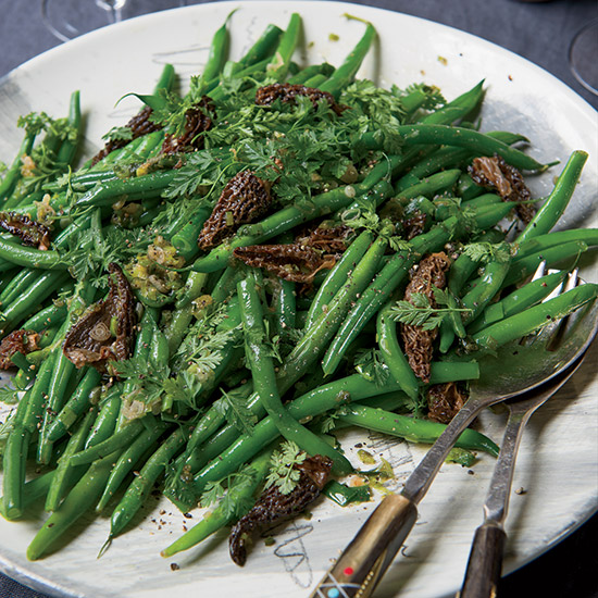 Sautéed Haricots Verts and Morels with Scallions