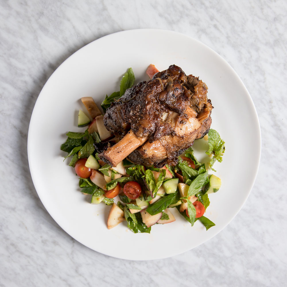 Braised Pork Shanks with Grilled Peach Salad