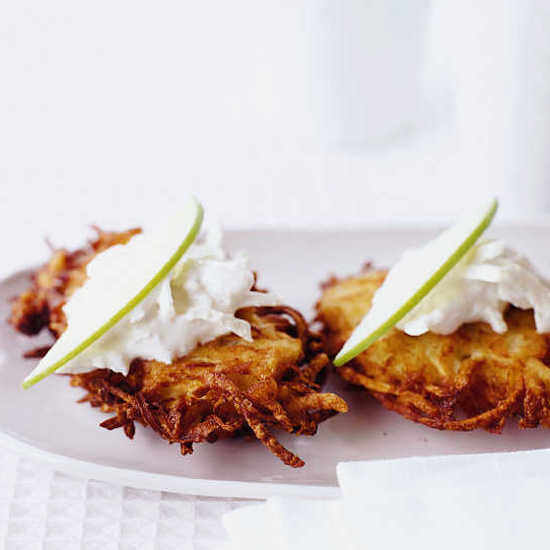 Celery Root-Potato Pancakes with Green Apple Sour Cream