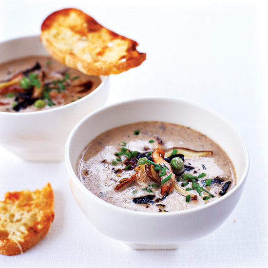 Wild Mushroom Soup with Parmesan Toasts