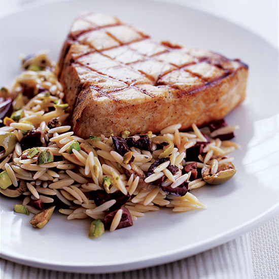Swordfish with Orzo, Pistachios and Olives