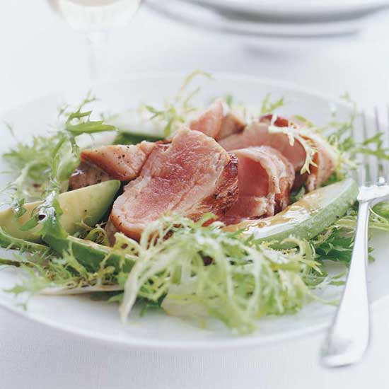 Bacon-Wrapped Tuna Steaks with Frisée and Avocado Salad