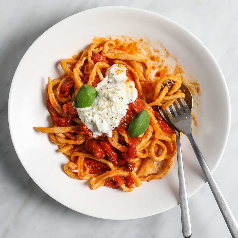 Handmade Chitarra with Spicy Roasted Cherry Tomatoes and Stracciatella