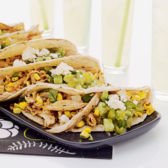 Pulled Chicken & Grilled Corn Tacos