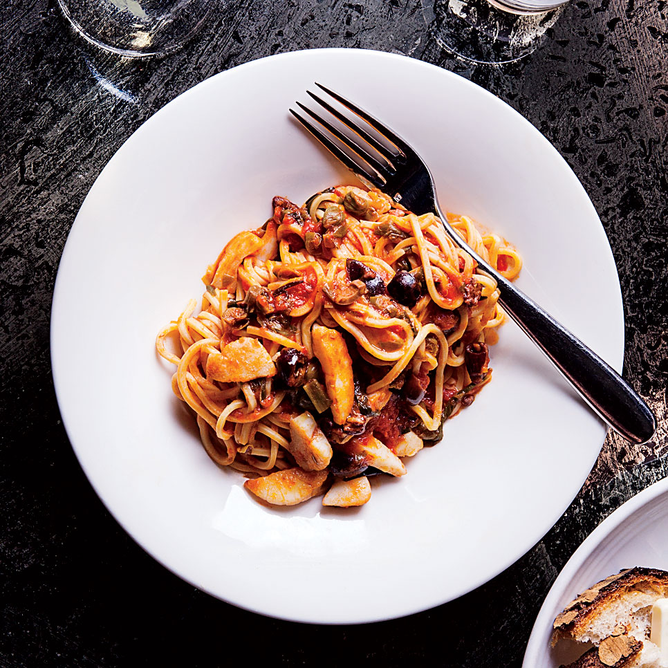 Pasta with Scallops, Capers and Grilled Scallions