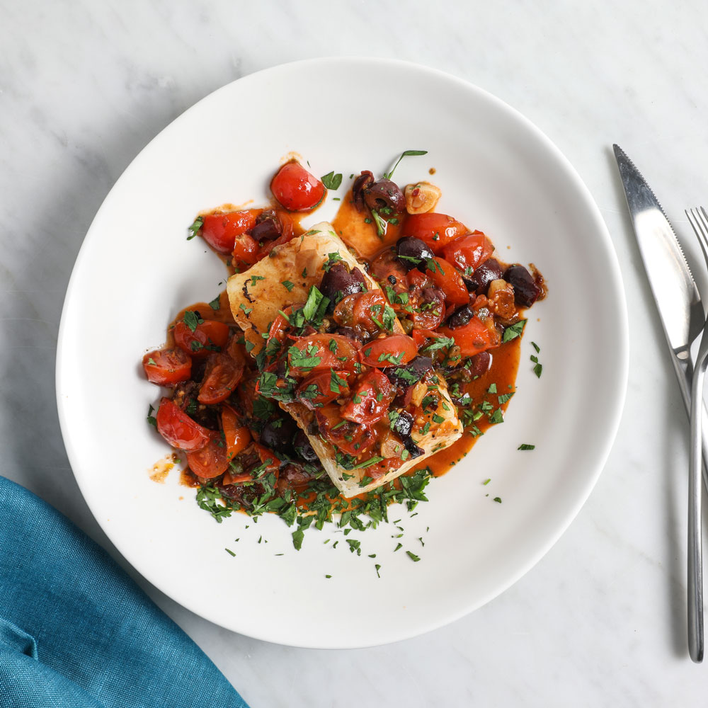 Sea Bass with Sicilian Cherry Tomato Sauce