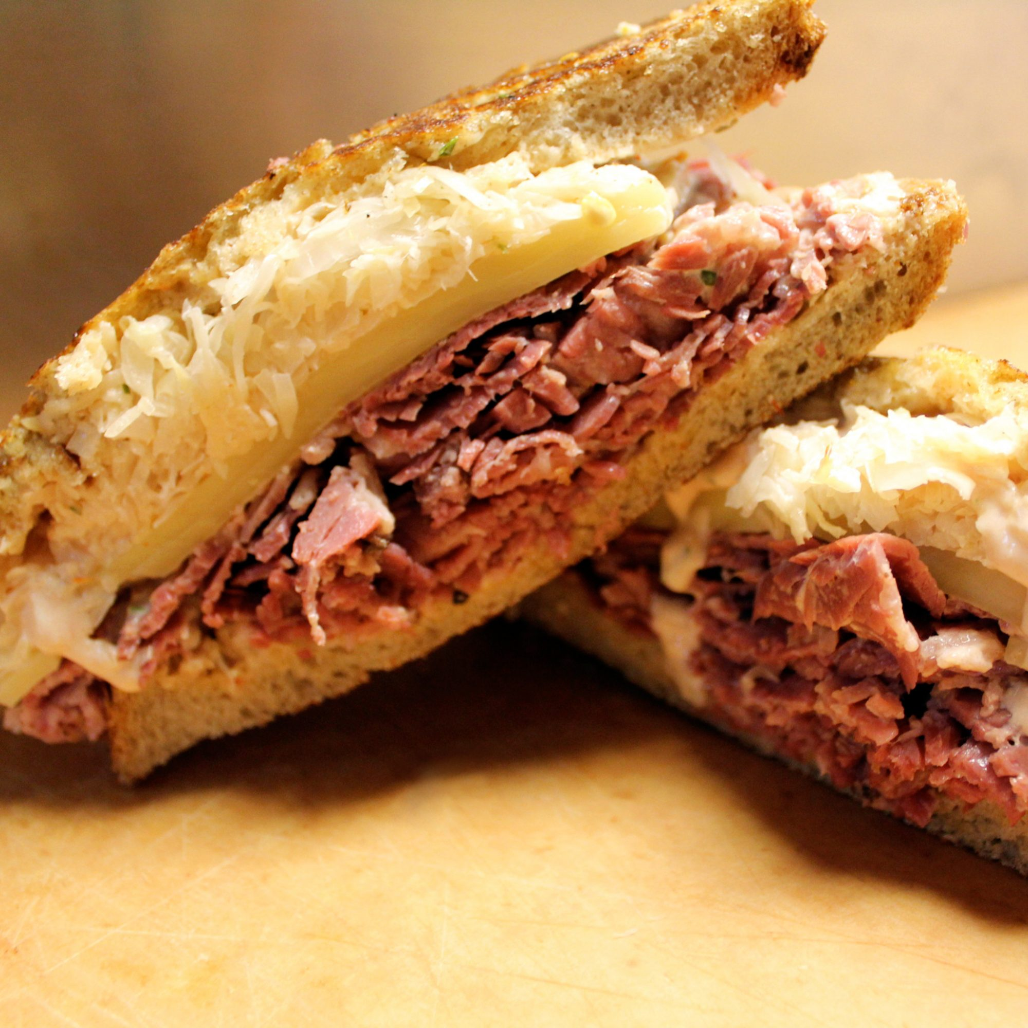 A perfect Reuben from Zingerman's in Ann Arbor, Michigan.