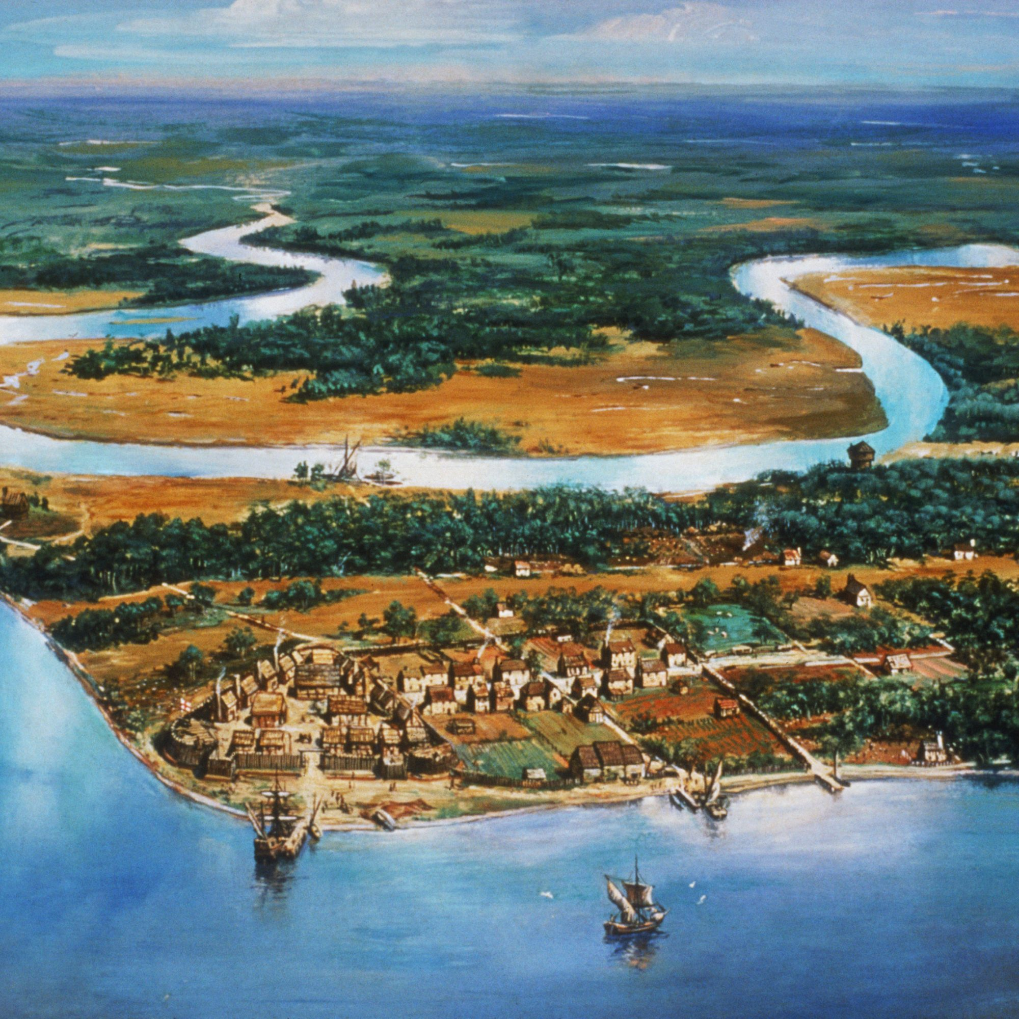 Jamestown, up the river from the home of the first Thanksgiving