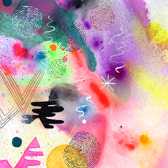 Mike Perry uses an impressive mix of media, including spray paint, watercolor, gouache, pencil and ink.
