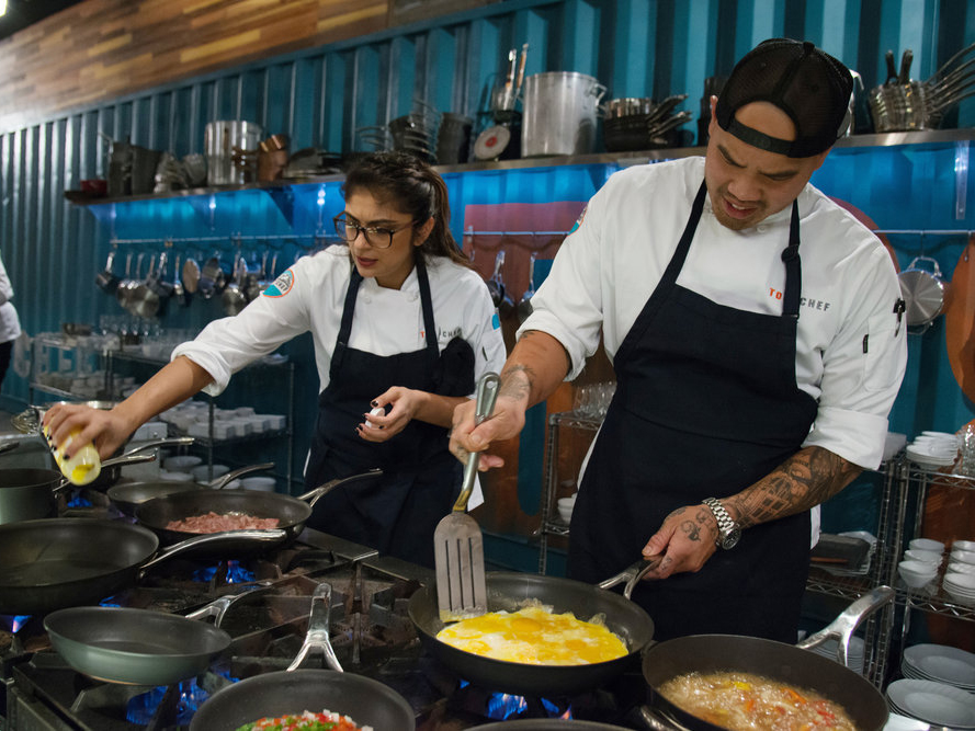 Tu and Fatima take on the deconstructed Denver omelette Quickfire challenge.