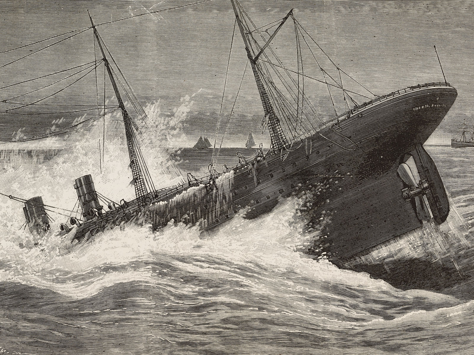 Sinking of the Oregon steamer, March 14, 1886, Long Island, United States of America, illustration by Tilly from L'Illustration, Journal Universel, No 2250, Volume LXXXVII, April 10, 1886.