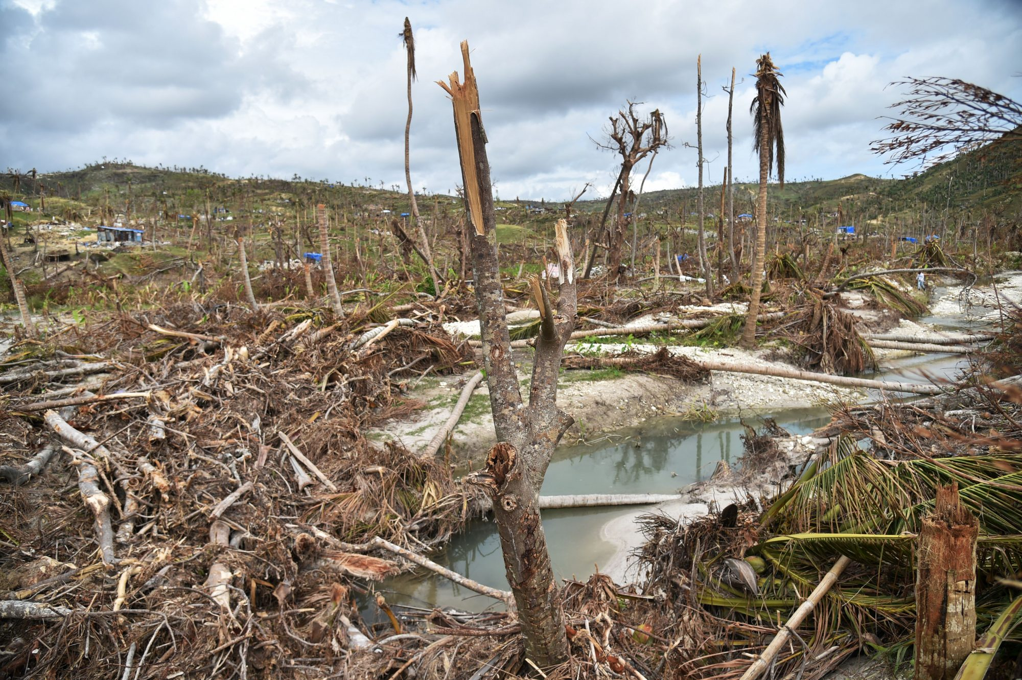 Destruction from Hurricane Matthew is seen in the area of Chabet, commune of Roche-a-Bateaux, southwestern Haiti, on October 18, 2016