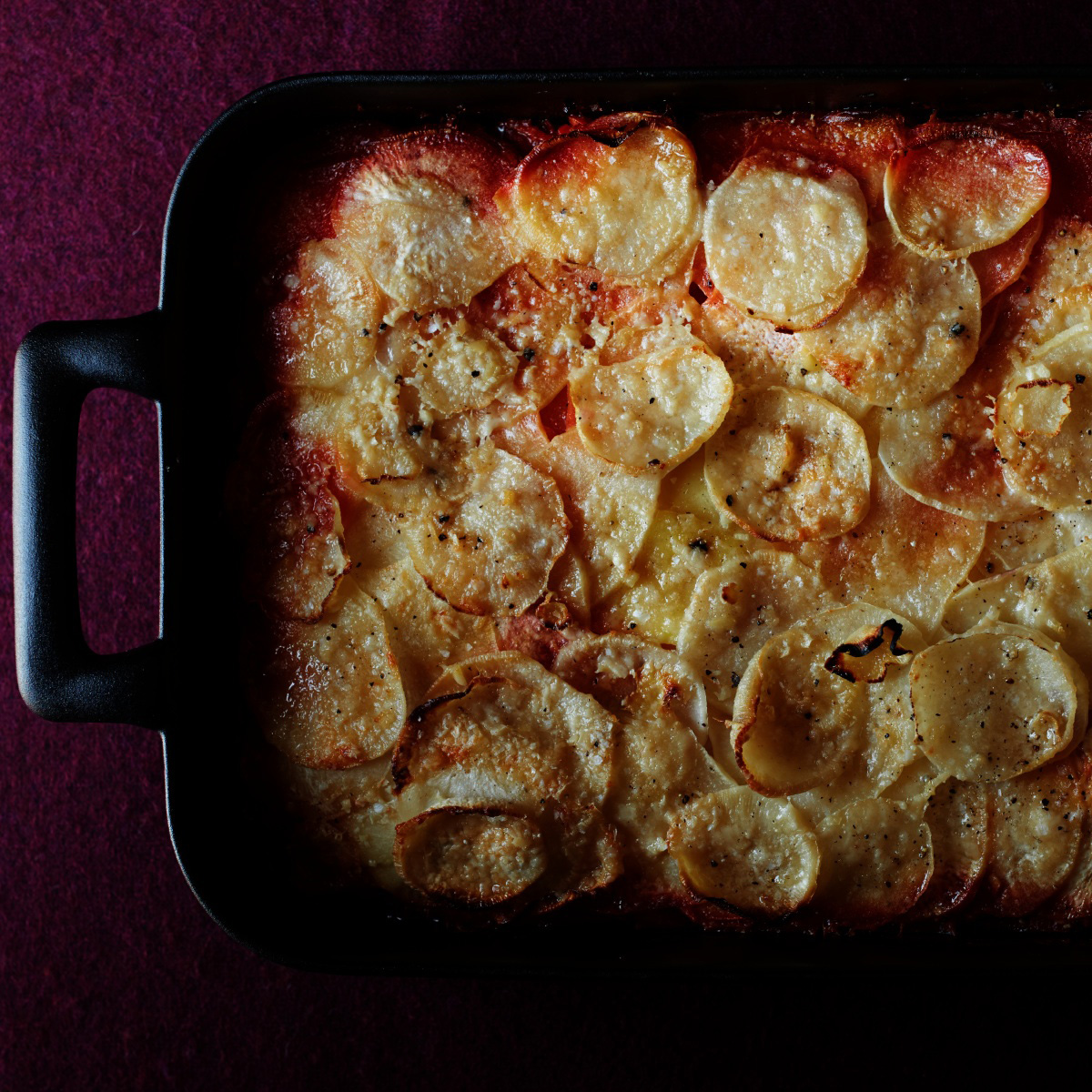 Ombre Potato and Root Vegetable Gratin