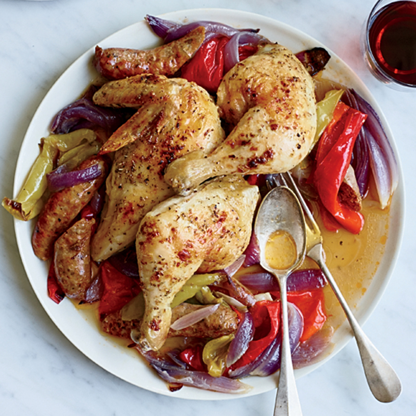Roast Chicken with Sausage and Peppers