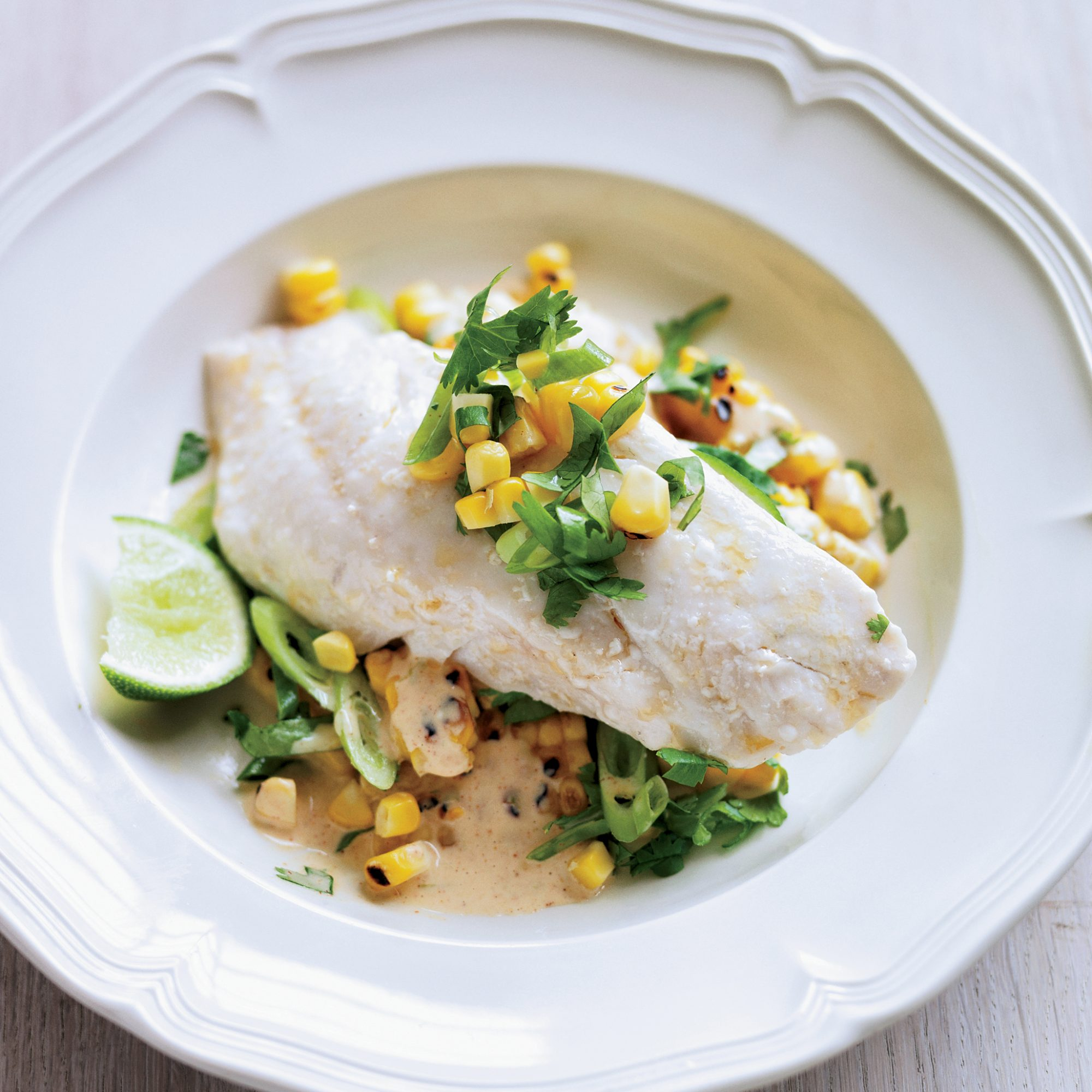 Chorizo Oil-Poached Red Snapper with Grilled Corn Salad
