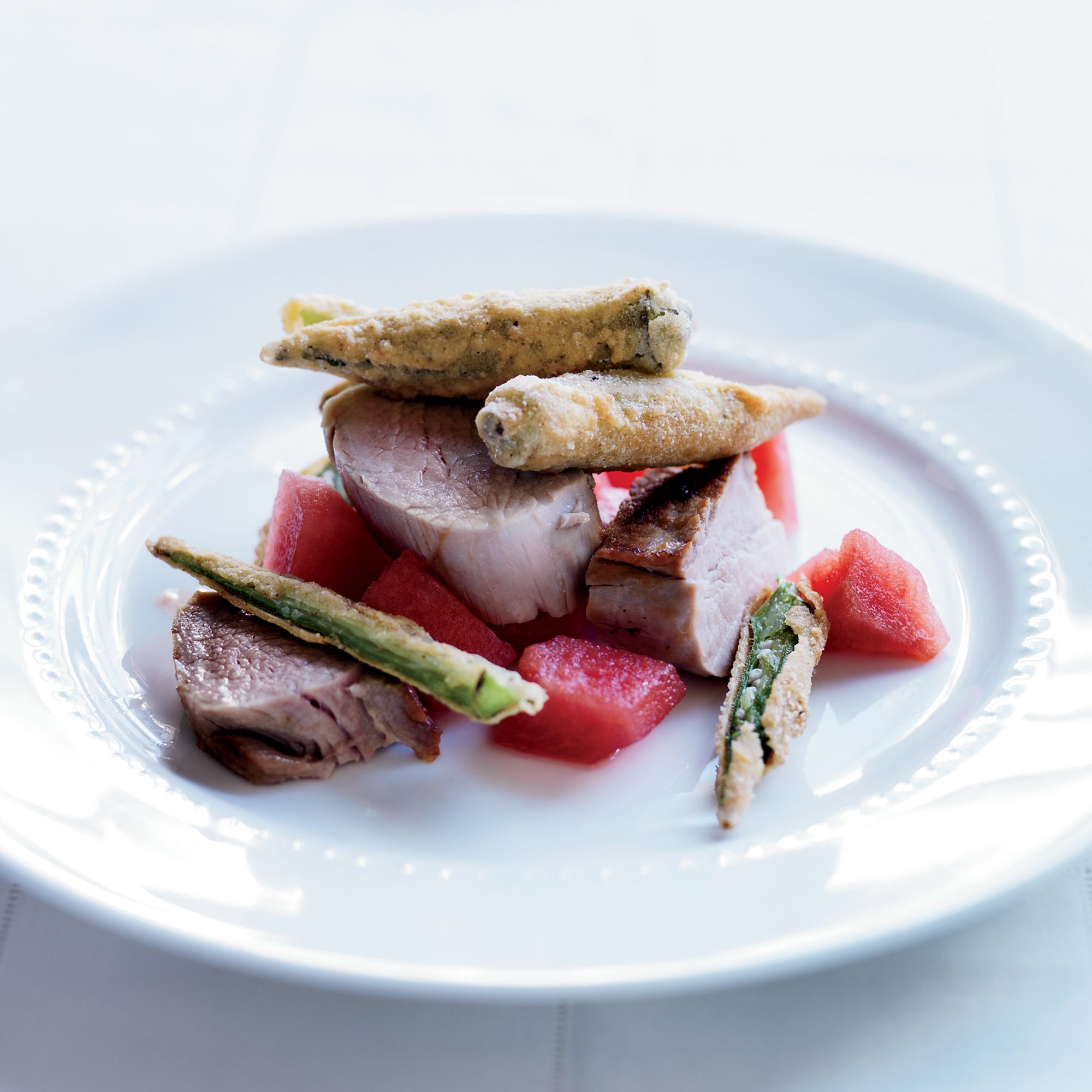 Pork Tenderloin with Fried Okra & Pickled Watermelon
