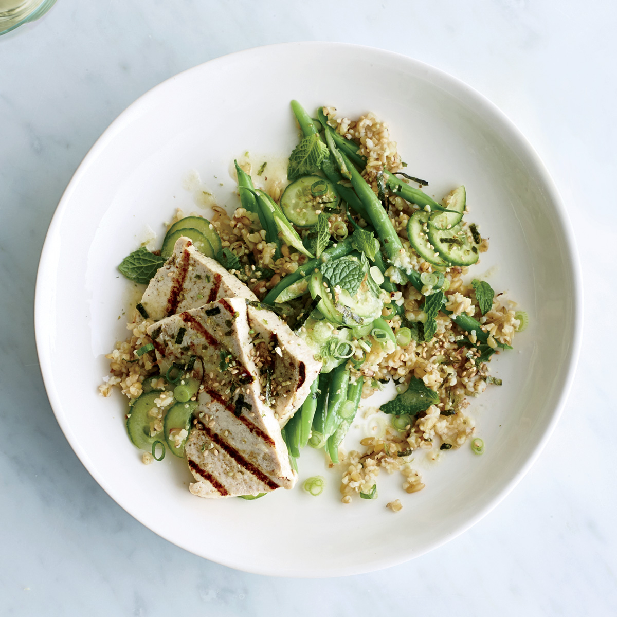 Freekeh with Grilled Tofu and Miso-Lime Dressing