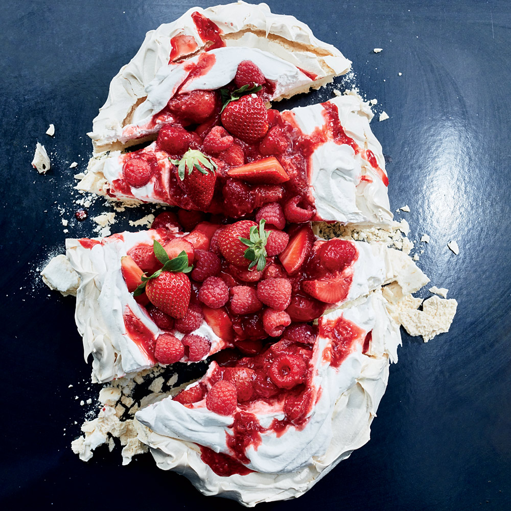 Summer Pavlova with Fresh and Grilled Berries