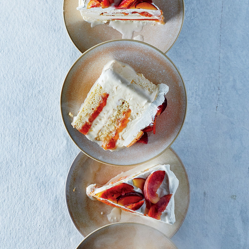 Peaches and Cream Ice Cream Cake