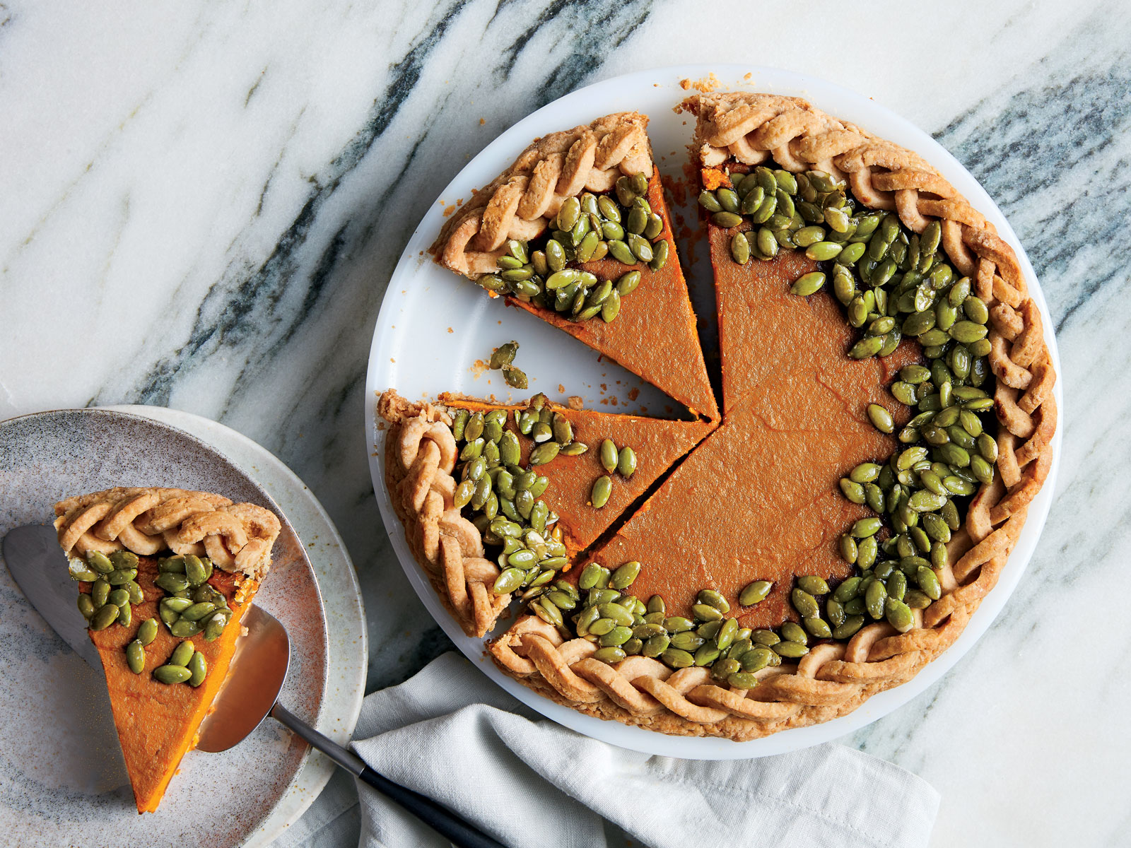 Gingered Pumpkin Pie with Candied Pepitas