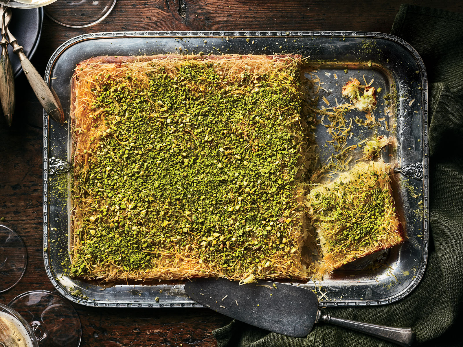 Knafeh (Shredded Phyllo-and-Cheese Pie)