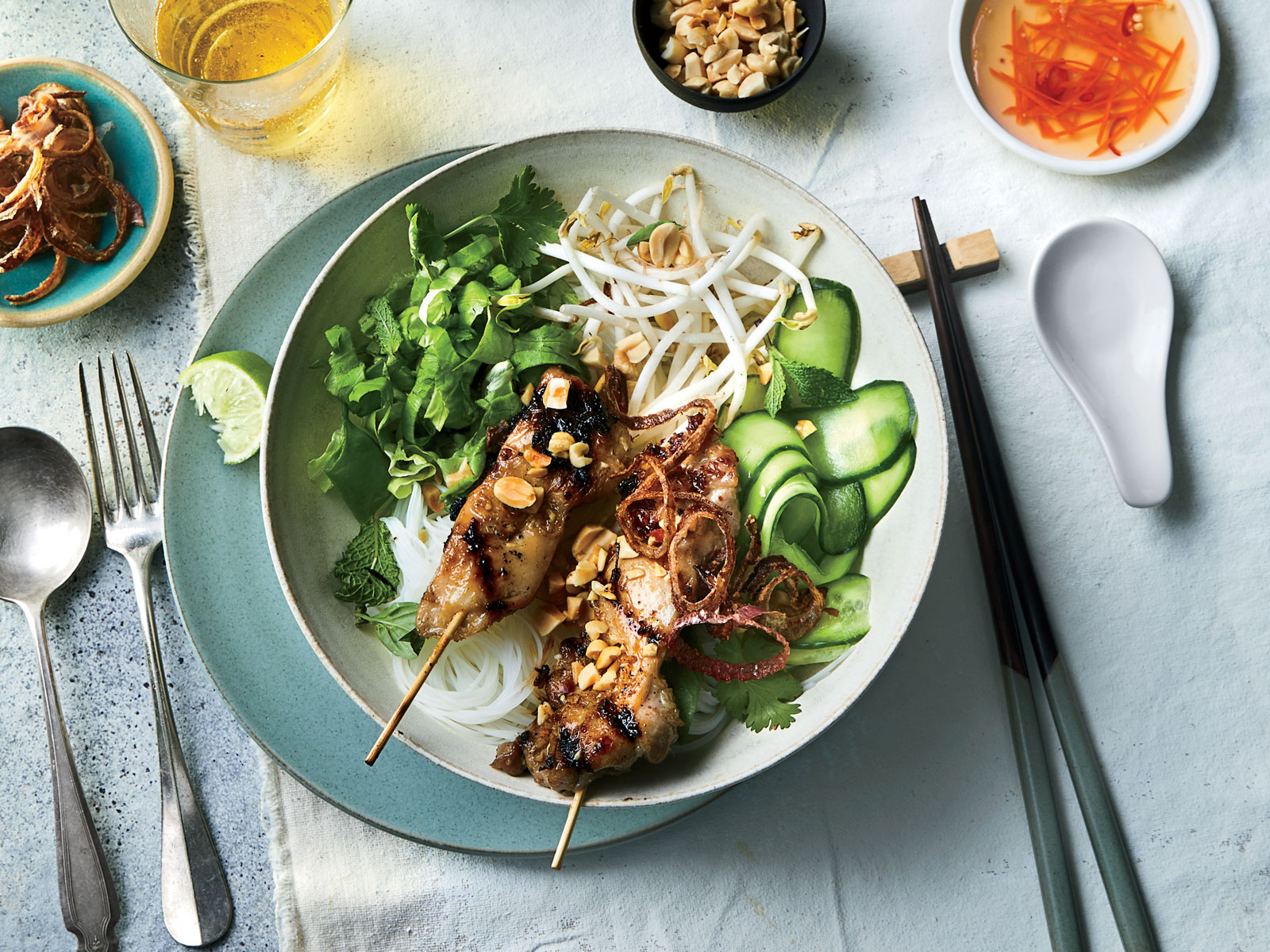 Rice Noodle Salad Bowls with Grilled Lemongrass Chicken
