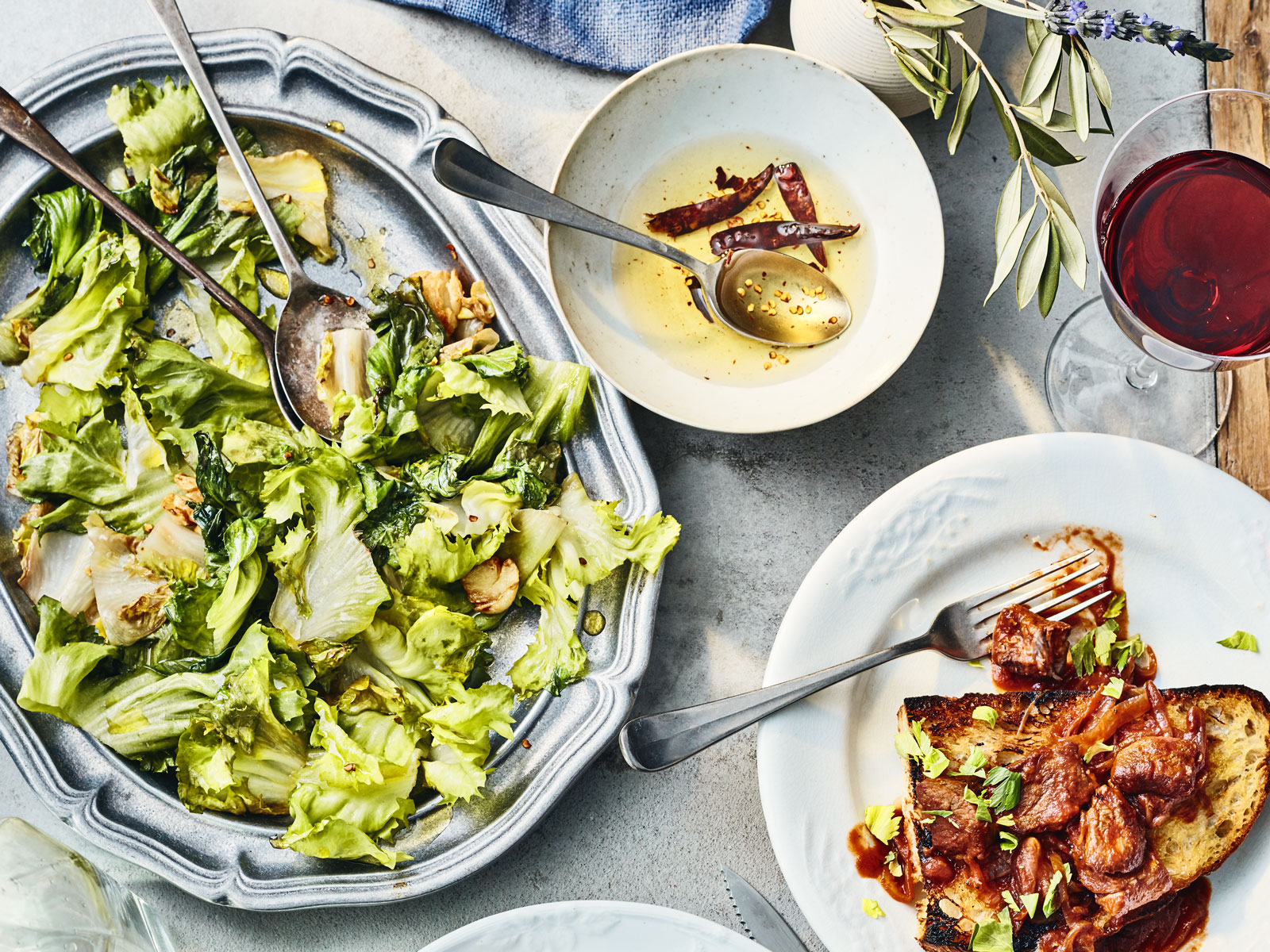 Sauteed Chicories with Chile Oil