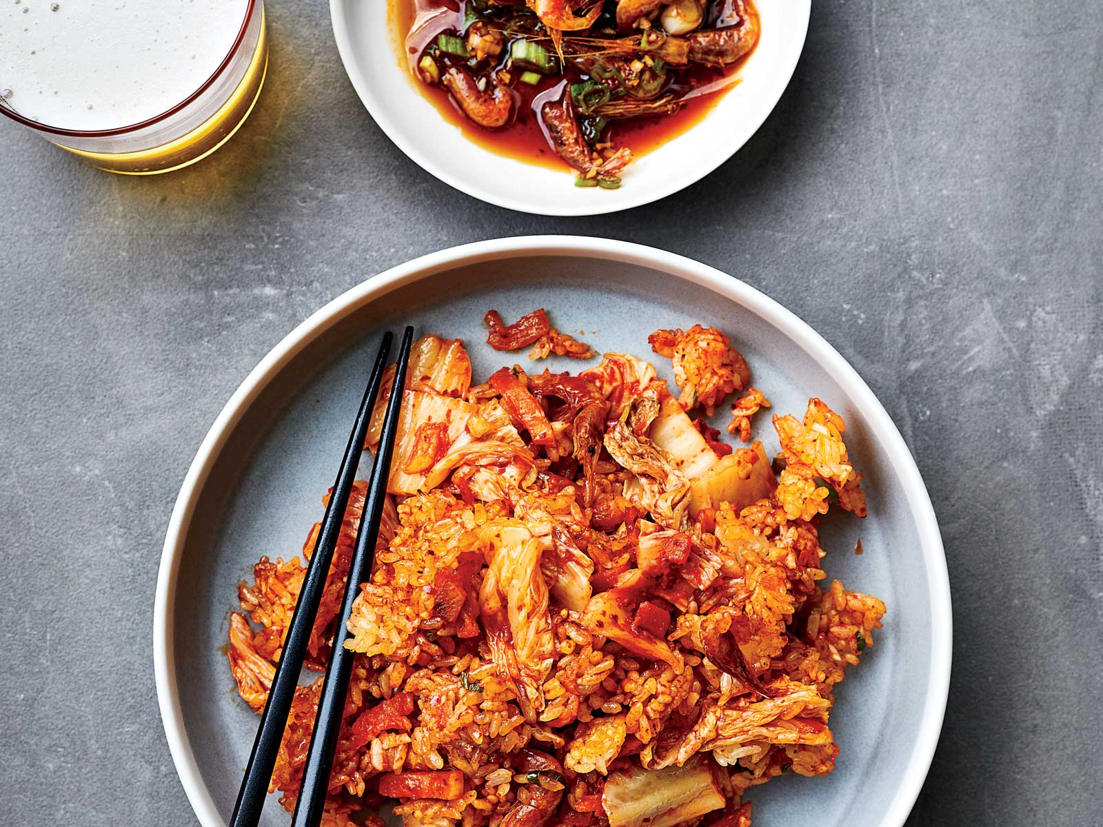 Kimchi Fried Rice with Spicy Shrimp and Sesame Sauce