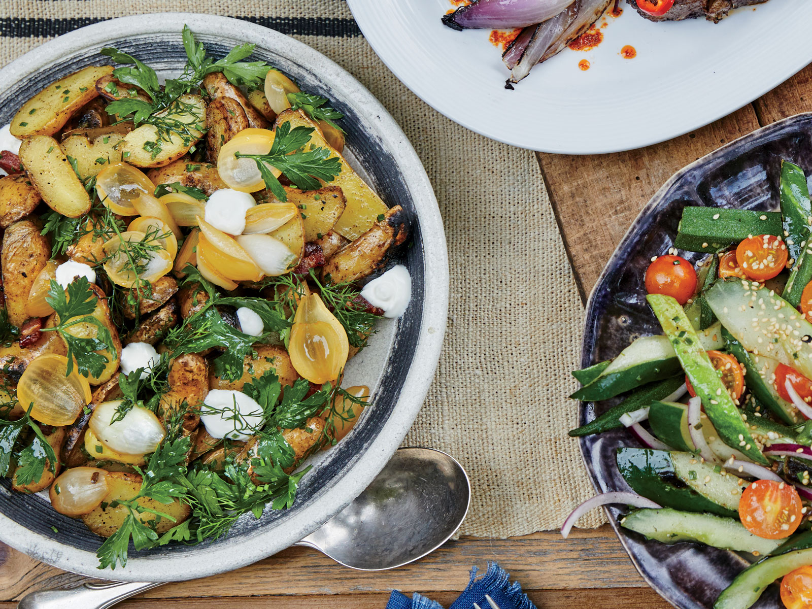 Bacony Fingerling Potato Salad with Spring Onions