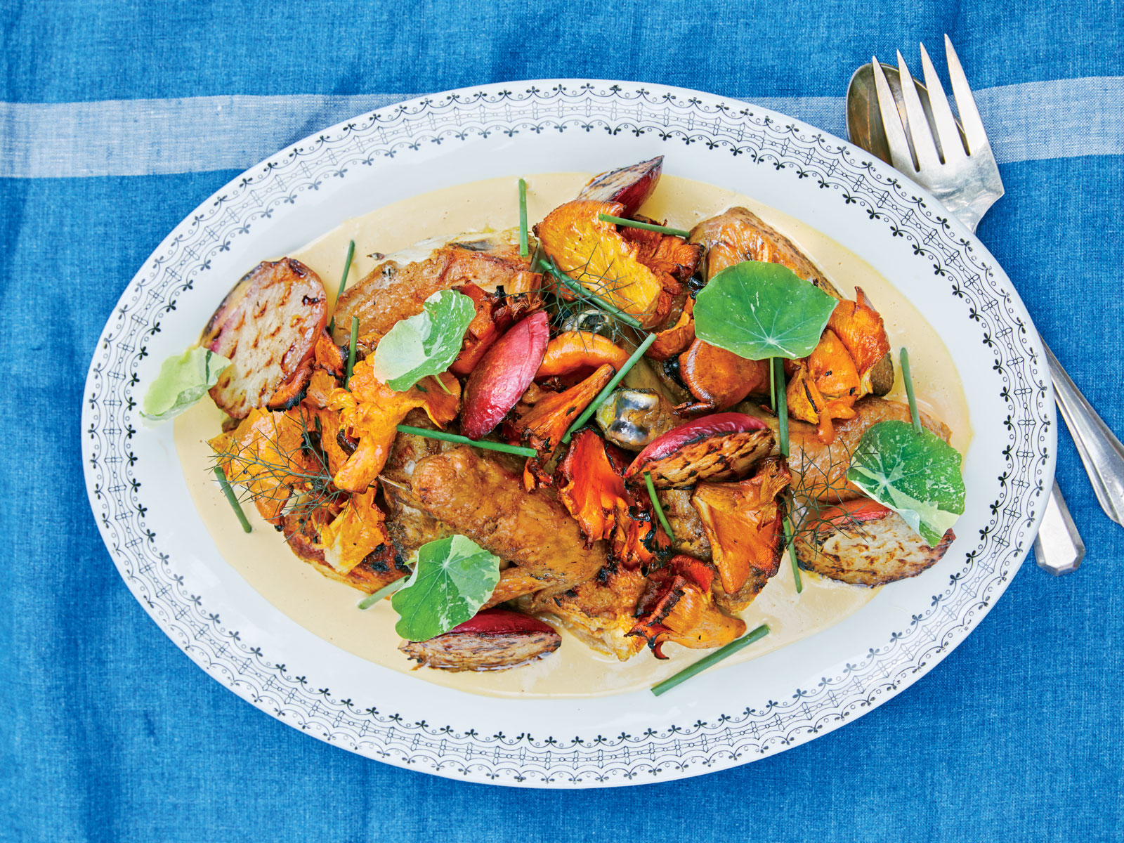 Grilled Chicken with Nectarines and Chanterelles