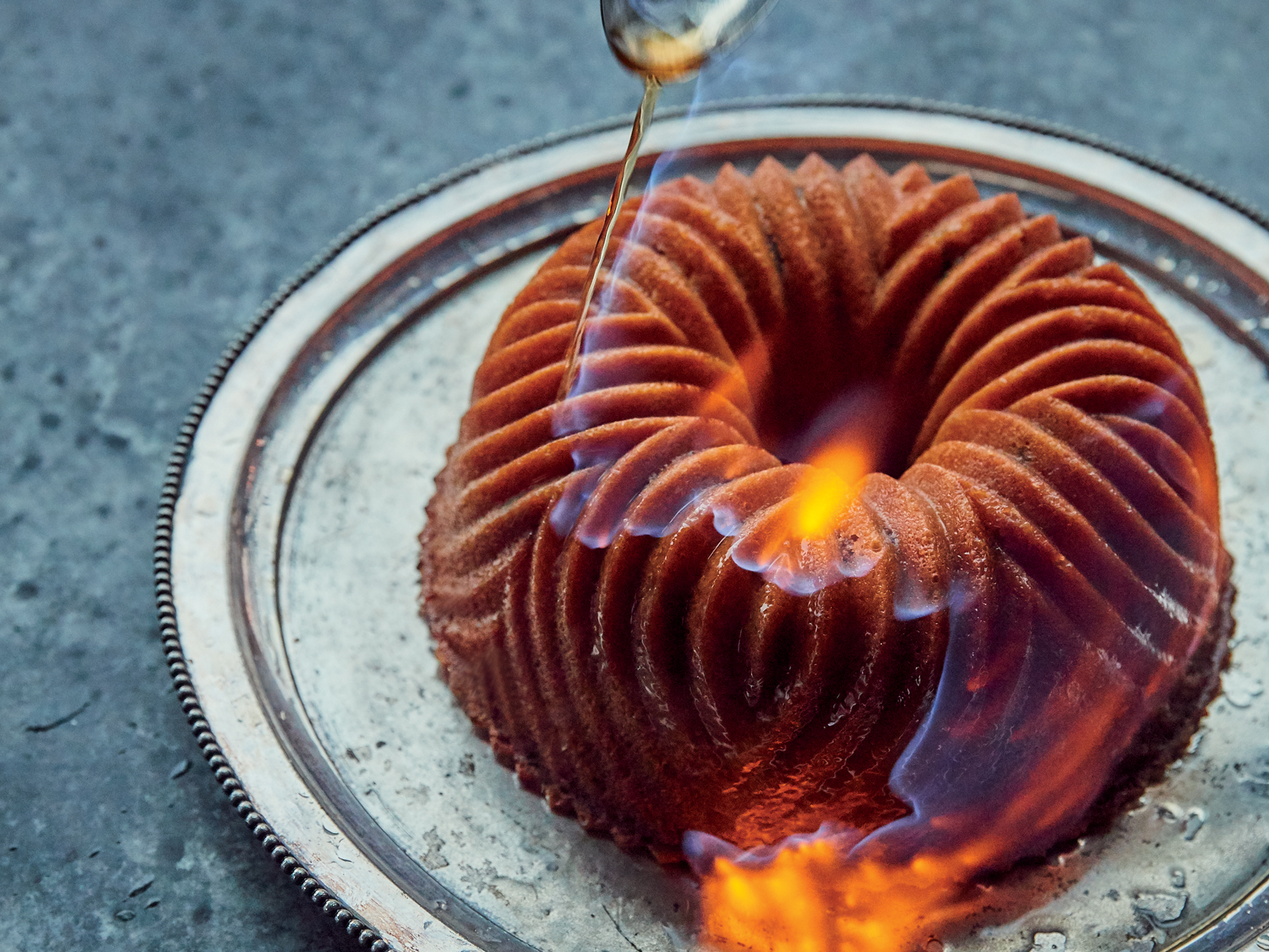 Flambéed Candied Chestnut Cake