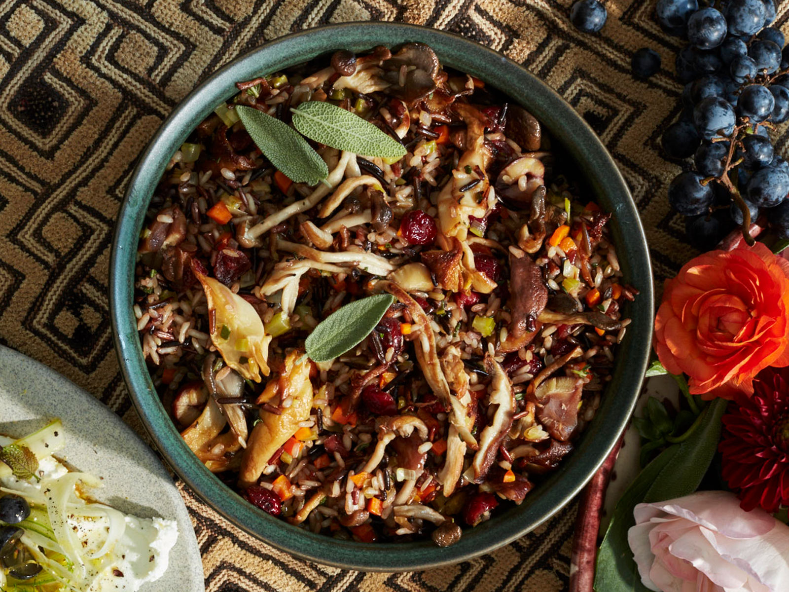 Wild Rice with Mushrooms, Cranberries, and Chestnuts Recipe