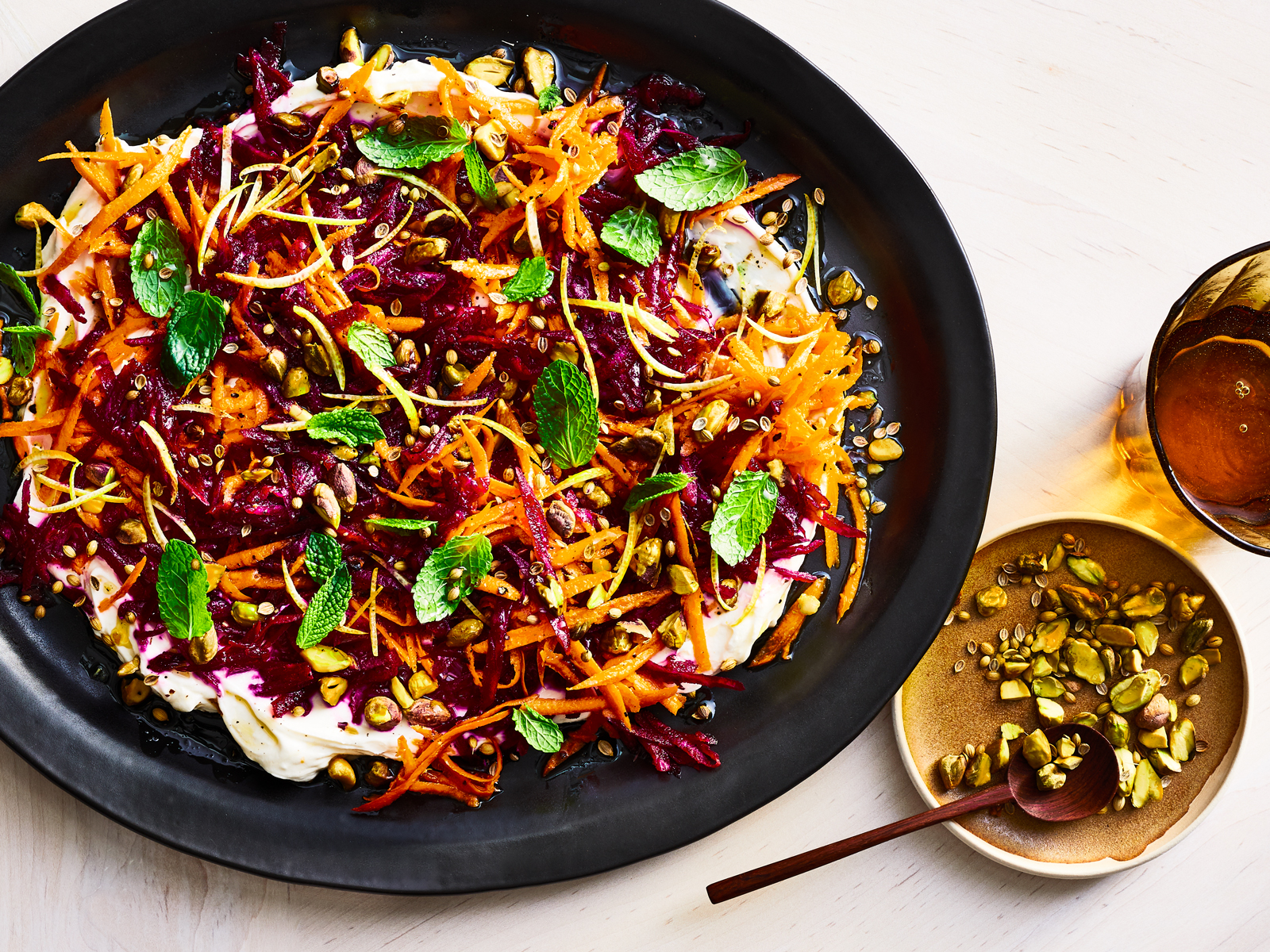 Beet-Carrot Slaw with Garlicky Labneh Recipe