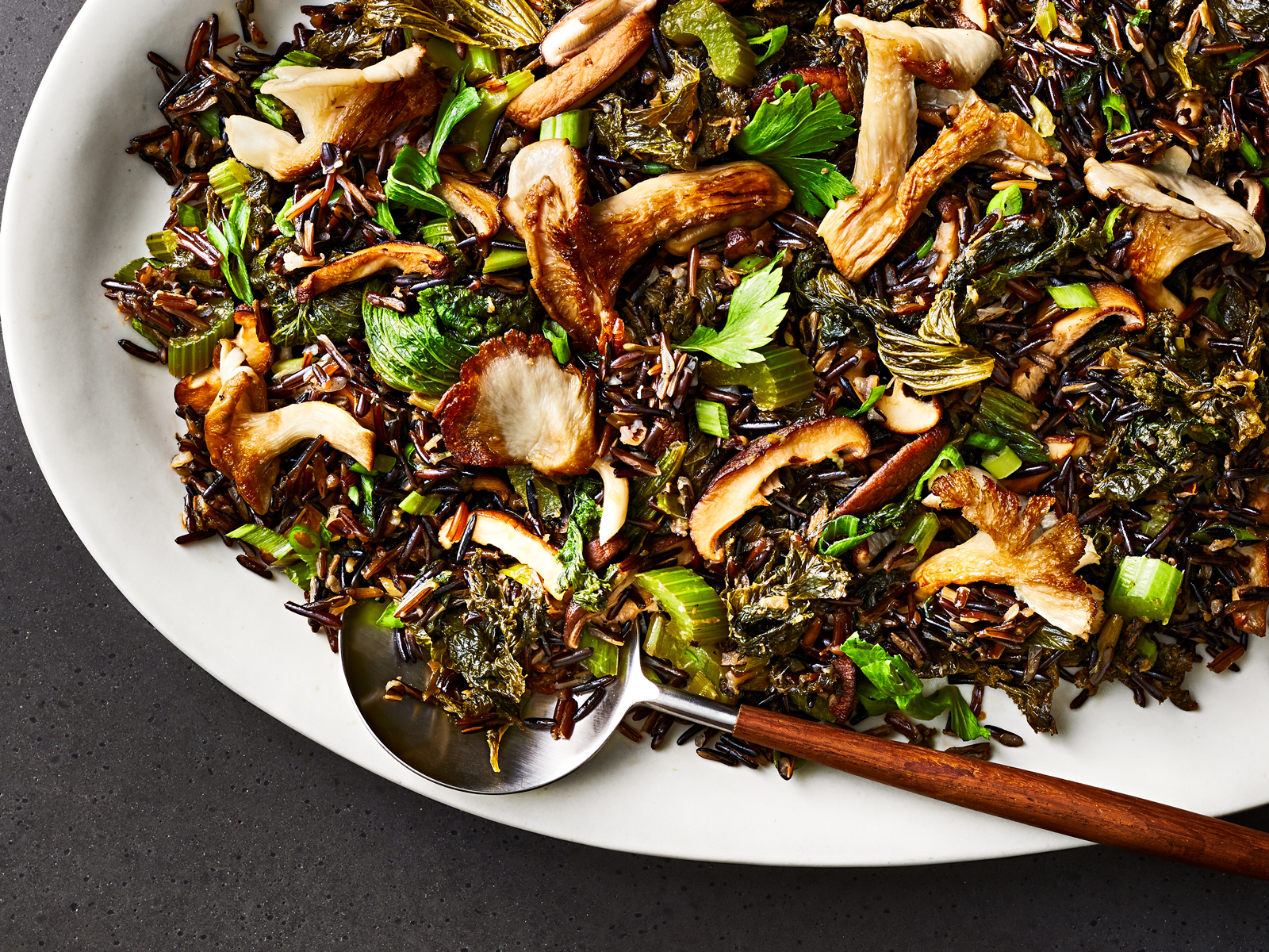 Fried Wild Rice with Mustard Greens and Mushrooms Recipe