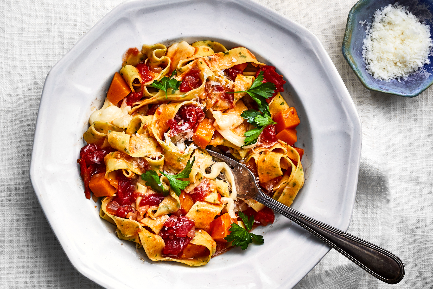 Parsley Egg Noodles with Squash-and-Tomato Sugo Recipe