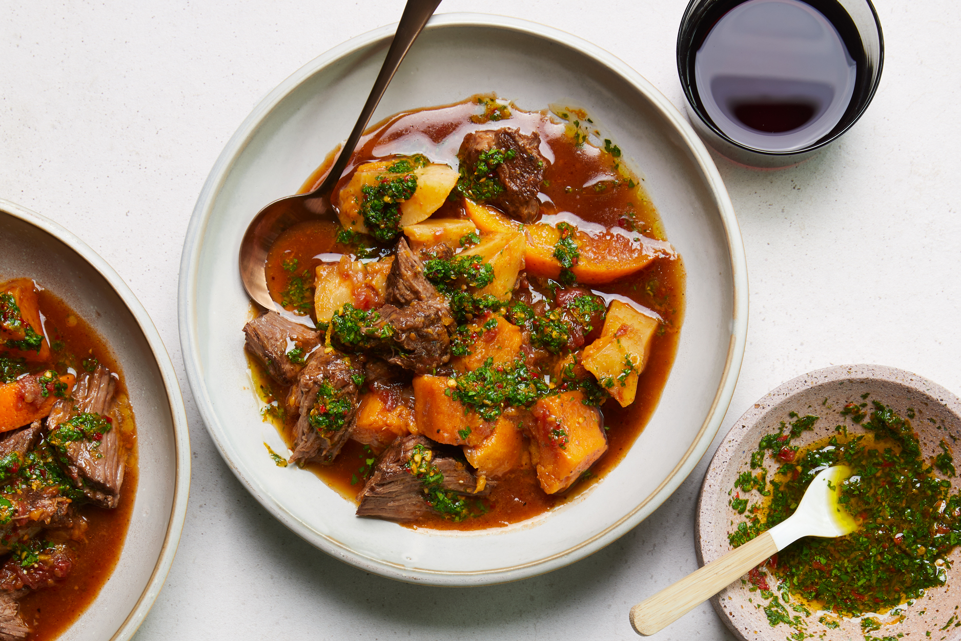 Spicy Pot Roast with Oranges, Sweet Potatoes, and Calabrian Chile Gremolata Recipe