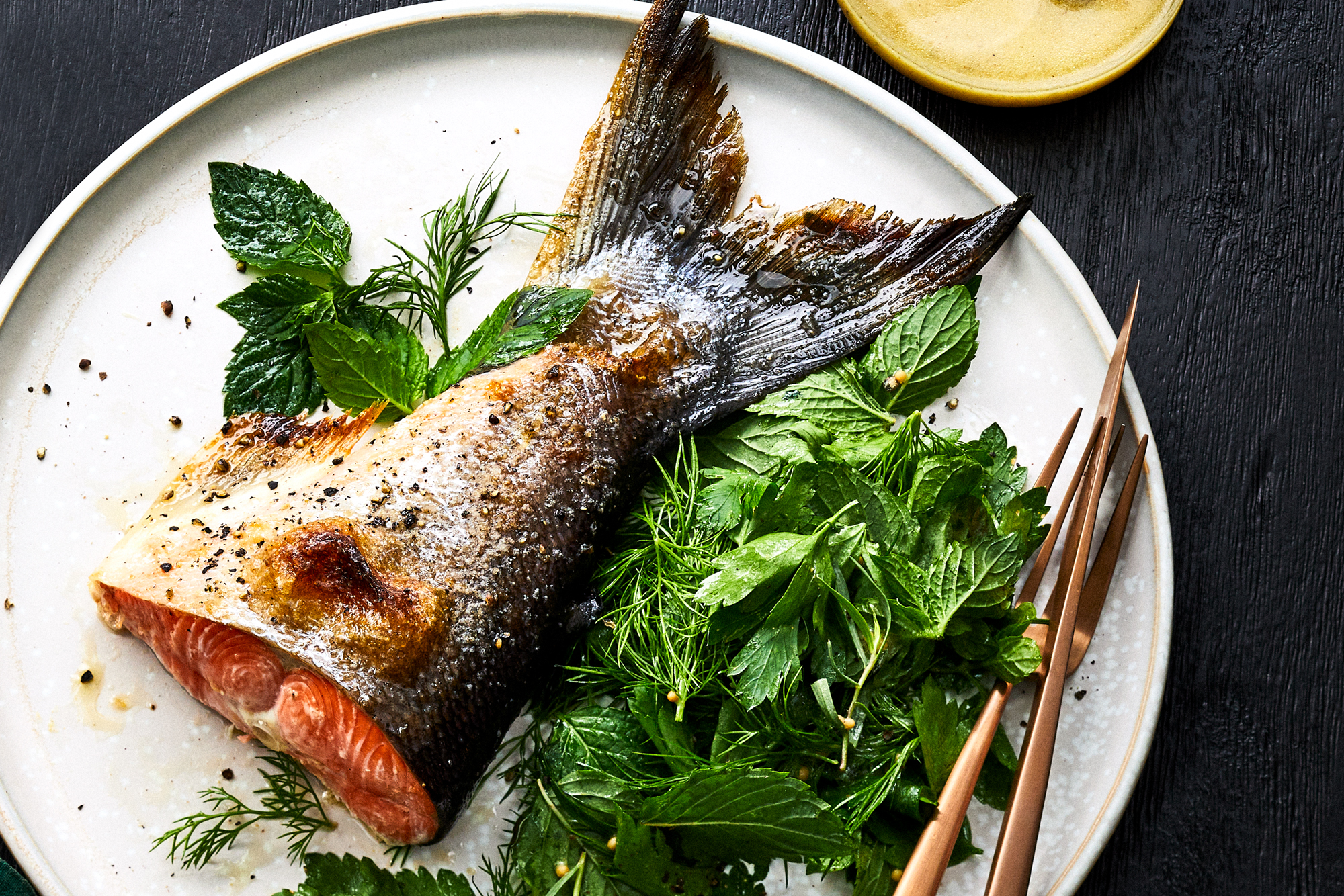 Slow Roasted Salmon Tails with Herb-Mustard Seed Salad Recipe
