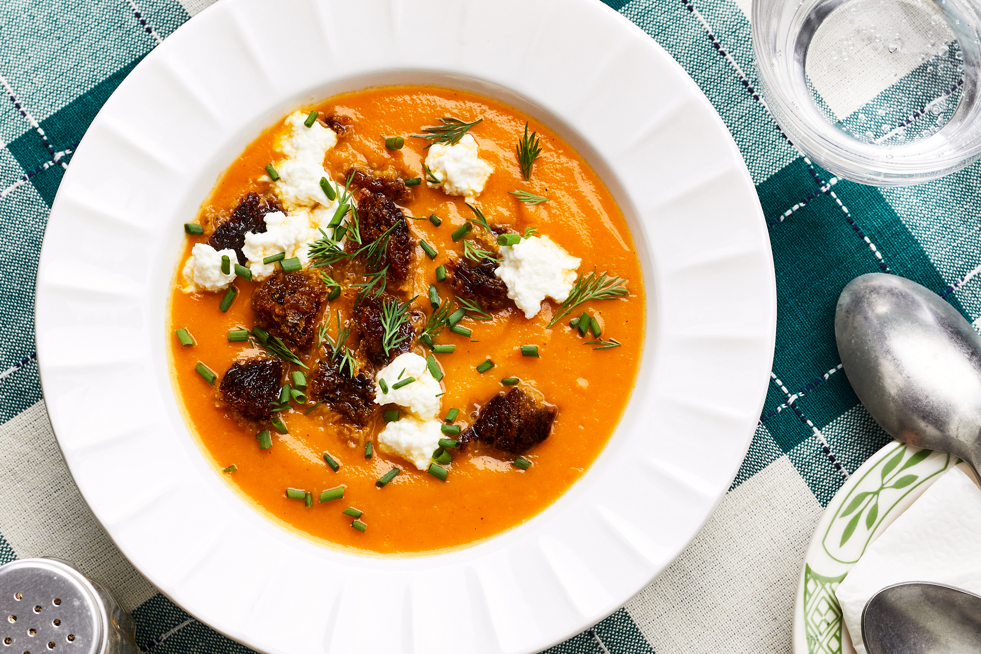 Roasted Carrot Soup with Fresh Cheese and Black Bread Recipe