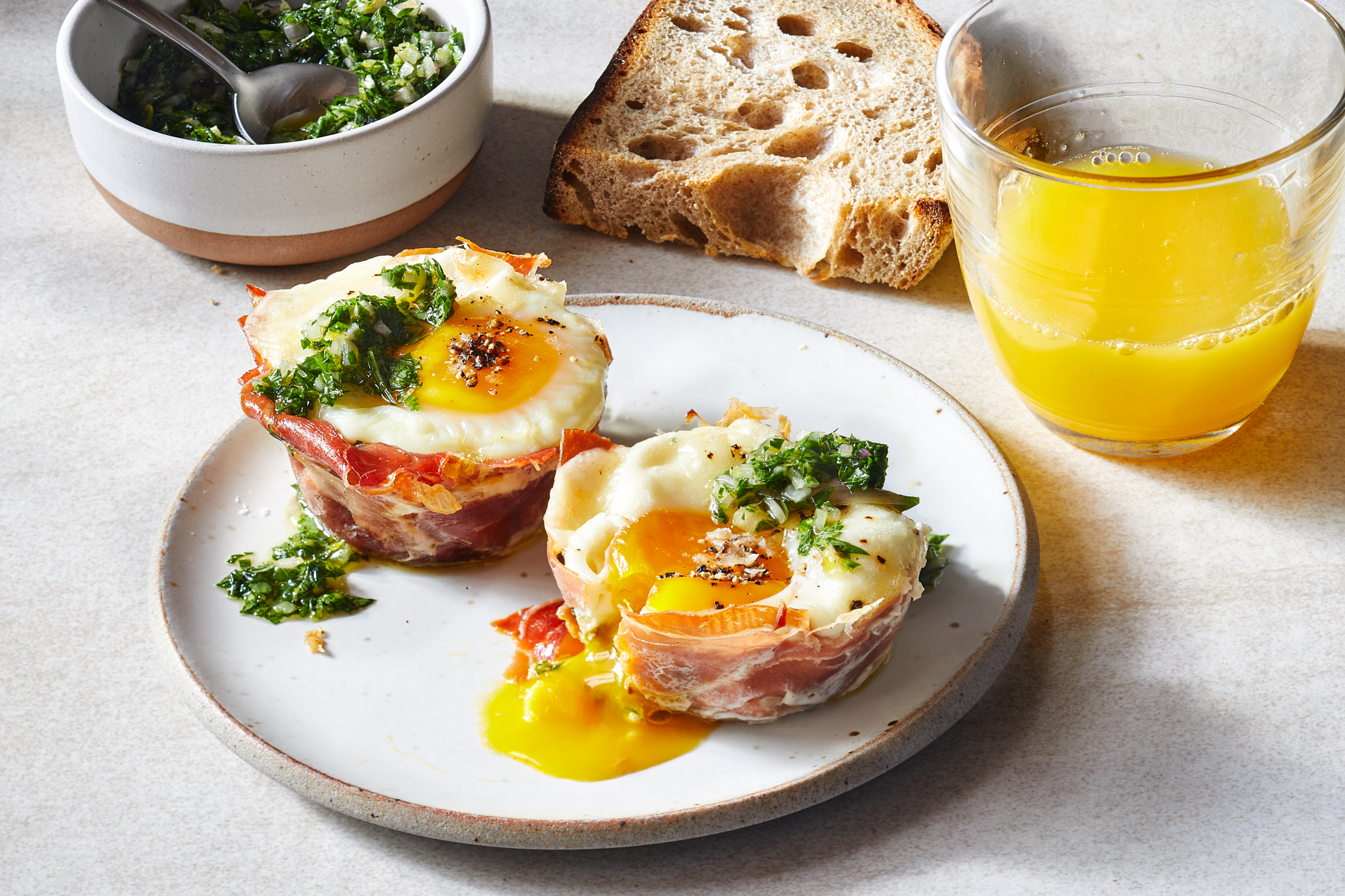 Prosciutto Egg Cups with Parsley Gremolata Recipe