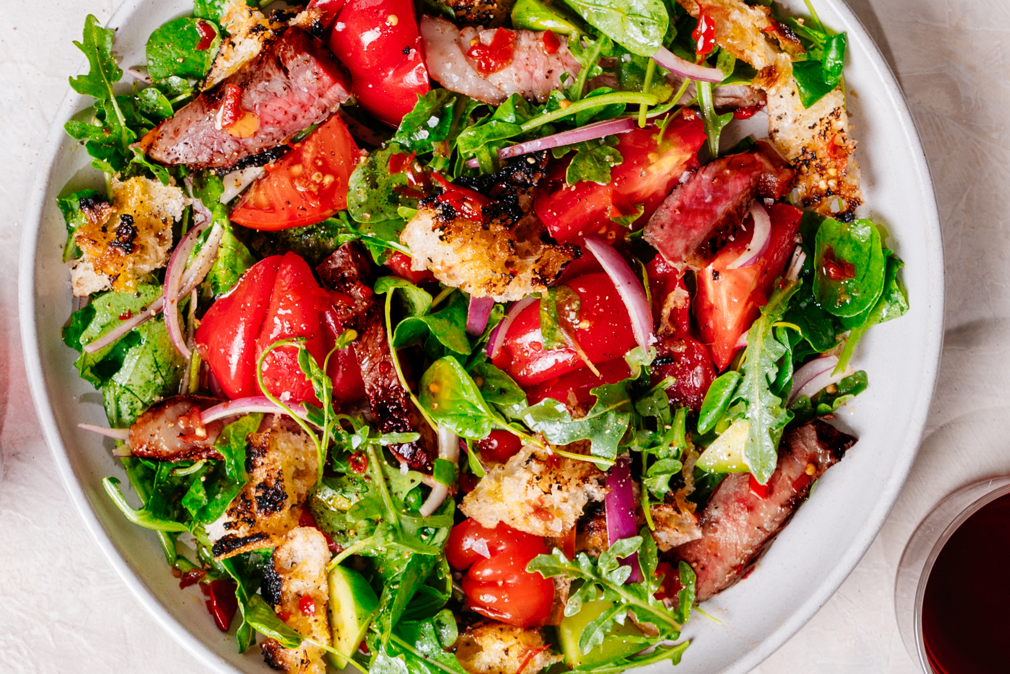 Charred Focaccia and Steak Salad Recipe