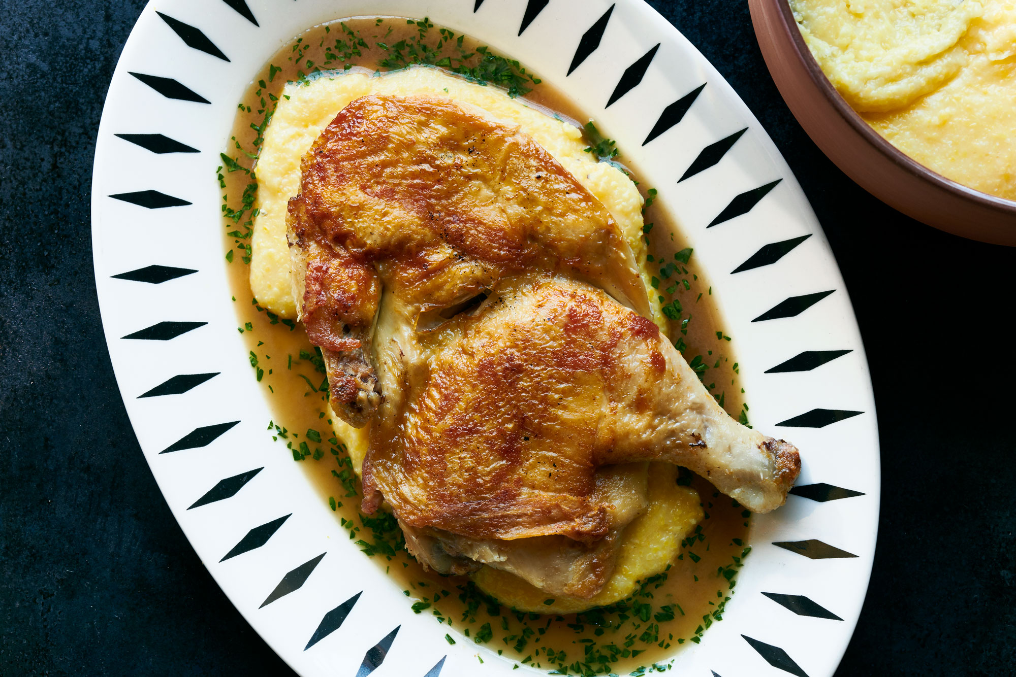 Griddled Half Chicken with White Wine Jus Recipe